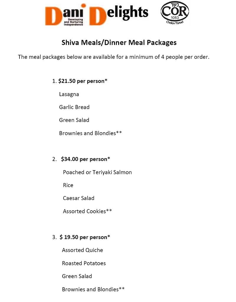 Shiva Meals/Dinner Meal Packages