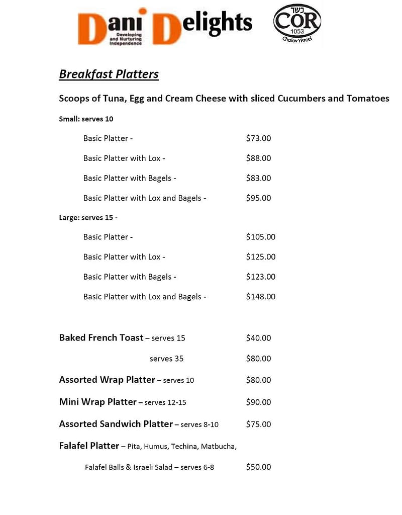 Breakfast, Salads, Sweets Menu Sept. 2020 | DANI Toronto