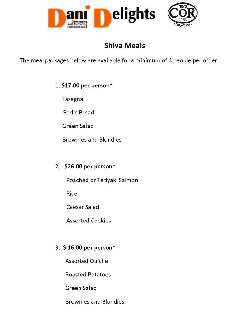 Shiva Meals Menu Sept. 2020 | DANI Toronto